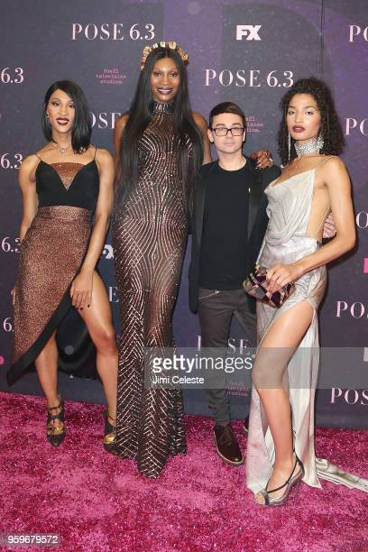 MJ Rodriguez Dominique Jackson Christian Siriano and Indya Moore attend the New York premiere of Pose at the Hammerstein Ballroom on May 17 2018 in...