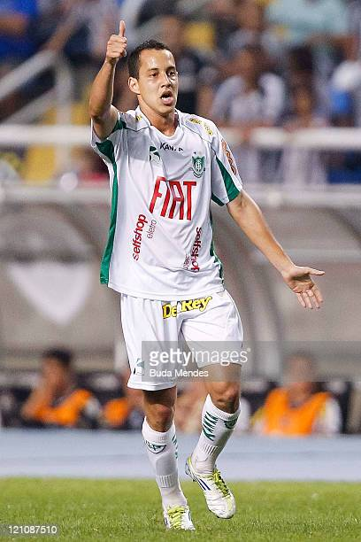 Rodriguinho of America MG celebrates a scored goal during a match as part of Serie A 2011 at Engenhao stadium on August 13, 2011 in Rio de Janeiro,...