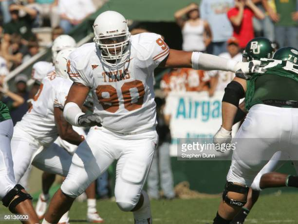 Rodrique Wright of the Texas Longhorns moves to block during the game against the Baylor Bears on November 5, 2005 at Floyd Casey Stadium in Waco,...