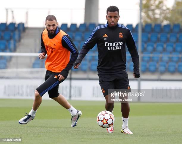 Rodrygo Goes and Karim Benzema of Real Madrid are training at Valdebebas training ground on October 16, 2021 in Madrid, Spain.