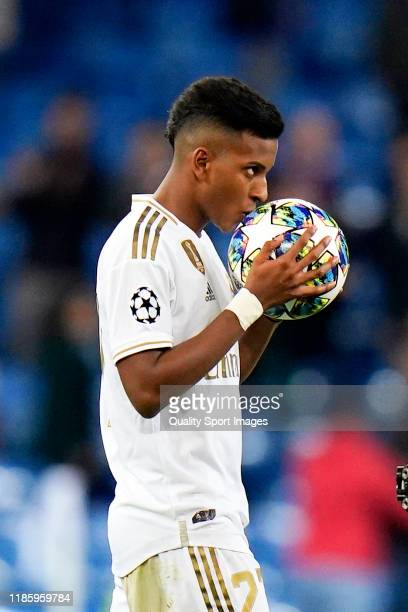 Rodrygo Goes of Real Madrid celebrates after scoring his third goal during the UEFA Champions League group A match between Real Madrid and...