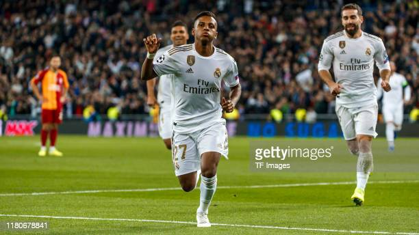 Rodrygo Goes of Real Madrid celebrates his goal with team mates during the UEFA Champions League group A match between Real Madrid and Galatasaray at...