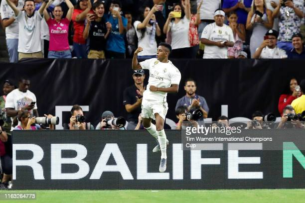 Rodrygo Goes of Real Madrid celebrates scoring a goal on a free kick during the second half against Bayern Munich in the 2019 International Champions...
