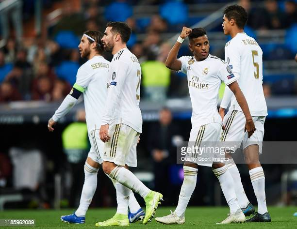 Rodrygo Goes of Real Madrid celebrates scoring his team's goal during the UEFA Champions League group A match between Real Madrid and Galatasaray at...