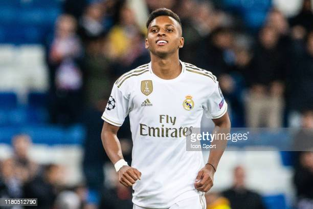 Rodrygo Goes of Real Madrid celebrating after scoring a goal during the Champions League match between Real Madrid and Galatasaray at Bernabeu on...