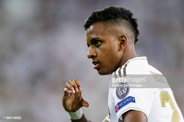 Rodrygo Goes of Real Madrid celebrating his goal during the UEFA Champions League group A match between Real Madrid and Galatasaray at Bernabeu on...