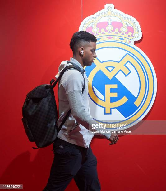 Rodrygo Goes of Real Madrid CF arrives at the stadium ahead of the Liga match between SD Eibar SAD and Real Madrid CF at Ipurua Municipal Stadium on...