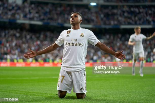 Rodrygo Goes of Real Madrid CF celebrates after scoring the second goal of his team during the Liga match between Real Madrid CF and CA Osasuna at...