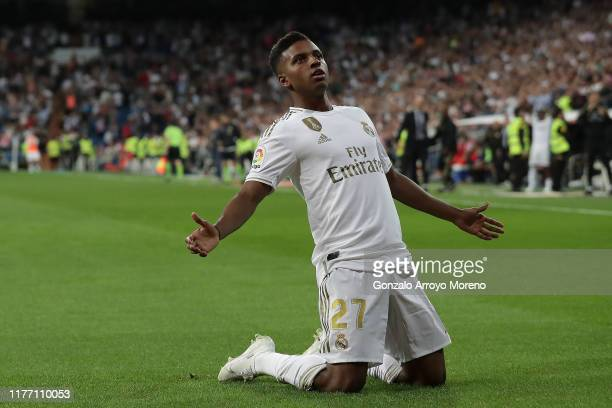 Rodrygo Goes of Real Madrid CF celebrates scoring their second goal during the Liga match between Real Madrid CF and CA Osasuna at Estadio Santiago...
