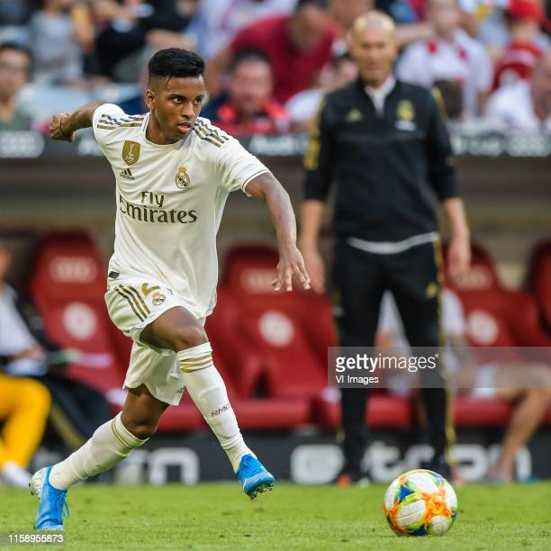 Rodrygo Goes of Real Madrid CF coach Zinedine Zidane of Real Madrid CF during the Preseason Friendly match between Real Madrid and Tottenham Hotspur...