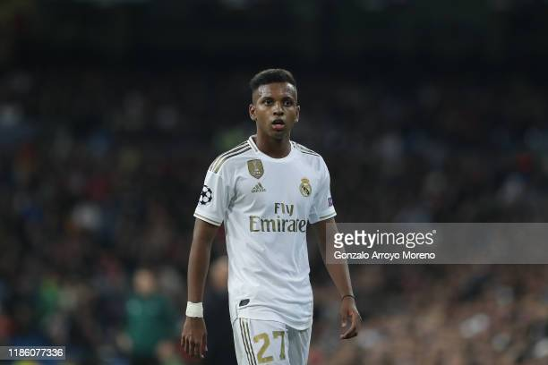Rodrygo Goes of Real Madrid CF controls the ball during the UEFA Champions League group A match between Real Madrid and Galatasaray at Bernabeu on...