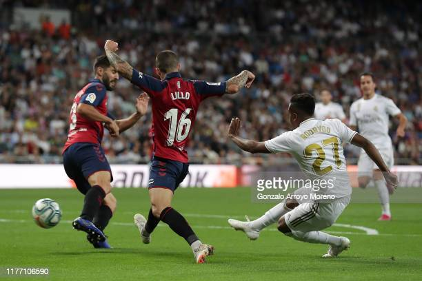 Rodrygo Goes of Real Madrid CF scores their second goal during the Liga match between Real Madrid CF and CA Osasuna at Estadio Santiago Bernabeu on...