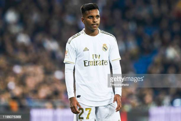 Rodrygo Goes of Real Madrid during the Spanish King Cup match between Real Madrid and Real Sociedad on February 6 2020 in Madrid Spain