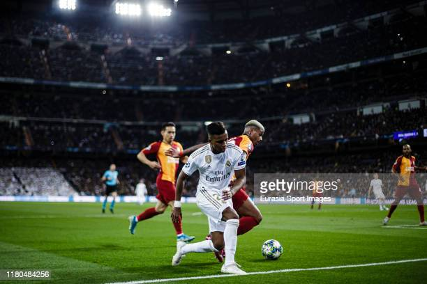 Rodrygo Goes of Real Madrid fights for the ball with Mario Lemina of Galatasaray during the UEFA Champions League group A match between Real Madrid...