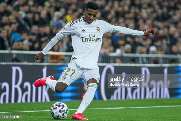 Rodrygo Goes of Real Madrid in action during Spanish Cup Copa del Rey football match played between Real Madrid and Real Sociedad at Santiago...