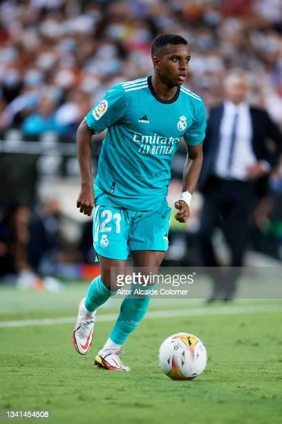 Rodrygo Goes of Real Madrid in action during the La Liga Santander match between Valencia CF and Real Madrid CF at Estadio Mestalla on September 19,...