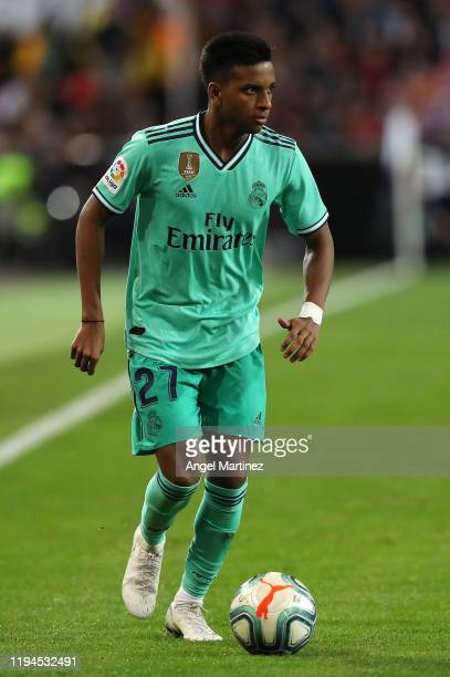 Rodrygo Goes of Real Madrid in action during the Liga match between Valencia CF and Real Madrid CF at Estadio Mestalla on December 15 2019 in...