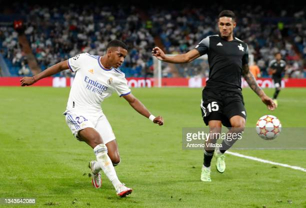 Rodrygo Goes of Real Madrid in action during the UEFA Champions League group D match between Real Madrid and FC Sheriff at Estadio Santiago Bernabeu...