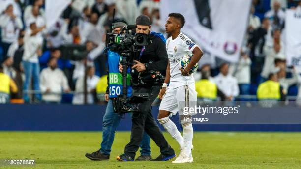 Rodrygo Goes of Real Madrid looks on during the UEFA Champions League group A match between Real Madrid and Galatasaray at Bernabeu on November 6...