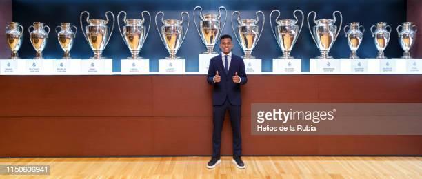 Rodrygo Goes of Real Madrid poses during his official presentation at Estadio Santiago Bernabeu on June 17 2019 in Madrid Spain