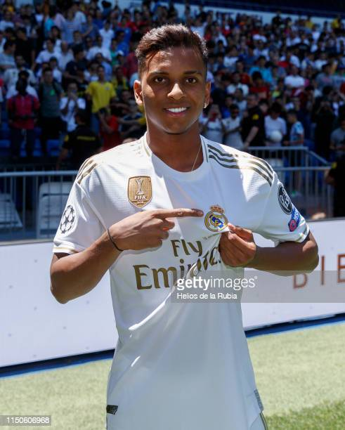 Rodrygo Goes of Real Madrid poses during his official presentation at Estadio Santiago Bernabeu on June 17 2019 in Madrid Spain
