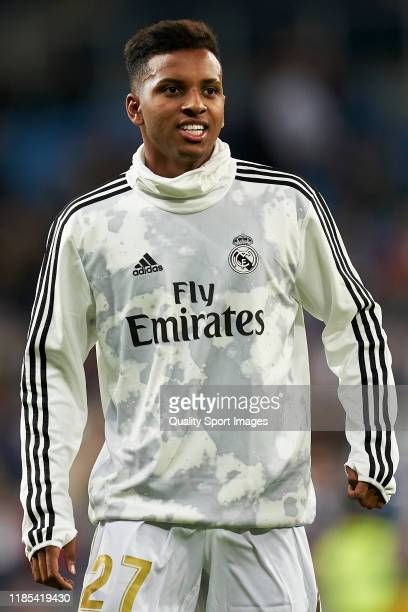 Rodrygo Goes of Real Madrid warms up prior to the La Liga match between Real Madrid CF and Real Betis Balompie at Estadio Santiago Bernabeu on...