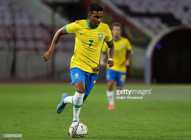 Rodrygo of Brazil in action during the International football friendly match between Serbia U21 and Brazil U23 at stadium Rajko Mitic on June 8, 2021...