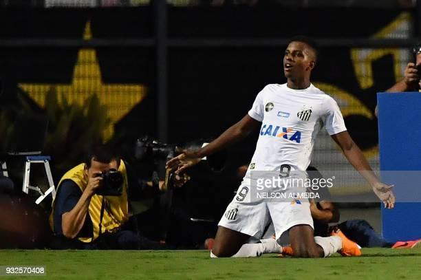Rodrygo of Brazil's Santos celebrates his goal against Uruguay's Nacional during their 2018 Copa Libertadores football match held at Arena Pacaembu...