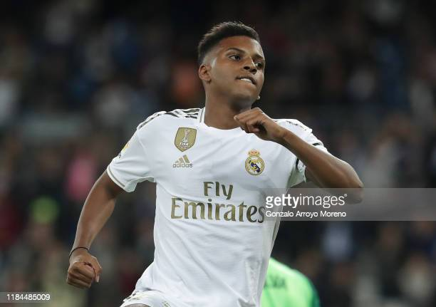 Rodrygo of Real Madrid celebrates after scoring his sides first goal during the Liga match between Real Madrid CF and CD Leganes at Estadio Santiago...