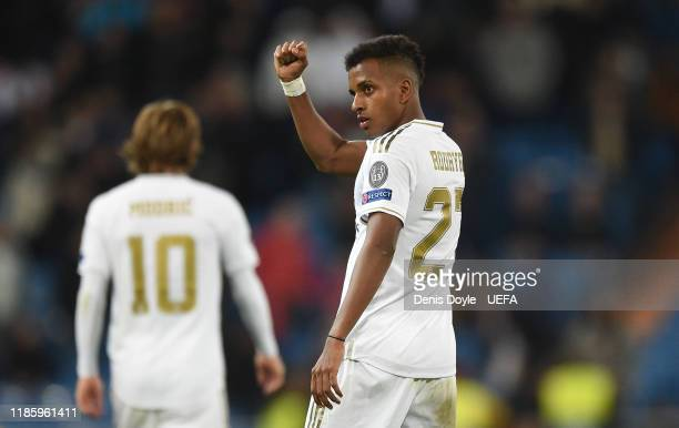 Rodrygo of Real Madrid celebrates after scoring his team's 6th goal during the UEFA Champions League group A match between Real Madrid and...