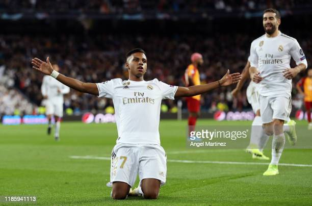 Rodrygo of Real Madrid celebrates after scoring his team's first goal during the UEFA Champions League group A match between Real Madrid and...