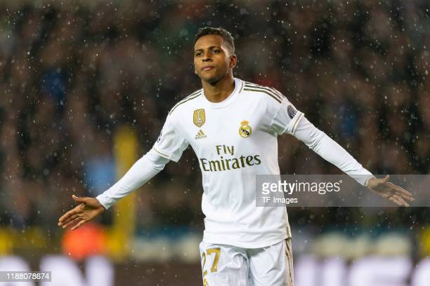 Rodrygo of Real Madrid celebrates after scoring his team's first goal during the UEFA Champions League group A match between Club Brugge KV and Real...