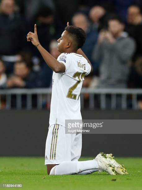 Rodrygo of Real Madrid celebrates after scoring his team's second goal during the UEFA Champions League group A match between Real Madrid and...