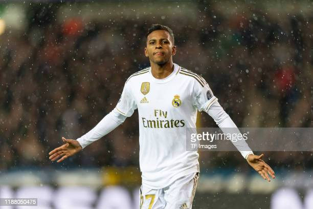 Rodrygo of Real Madrid celebrates after scoring his team's second goal during the UEFA Champions League group A match between Club Brugge KV and Real...