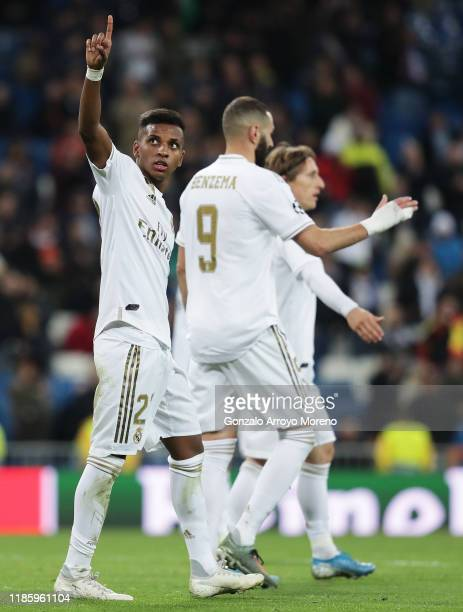 Rodrygo of Real Madrid celebrates after scoring his team's sixth goal during the UEFA Champions League group A match between Real Madrid and...