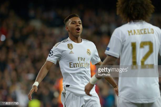 Rodrygo of Real Madrid celebrates after the goal during a match between Real Madrid vs Galatasaray Spor Kulübü for the UEFA Champions League at...