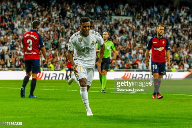 Rodrygo of Real Madrid celebrates goal 20 during the La Liga Santander match between Real Madrid v Osasuna at the Santiago Bernabeu on September 25...