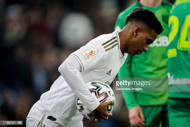 Rodrygo of Real Madrid celebrates goal 34 during the Spanish Copa del Rey match between Real Madrid v Real Sociedad at the Santiago Bernabeu on...