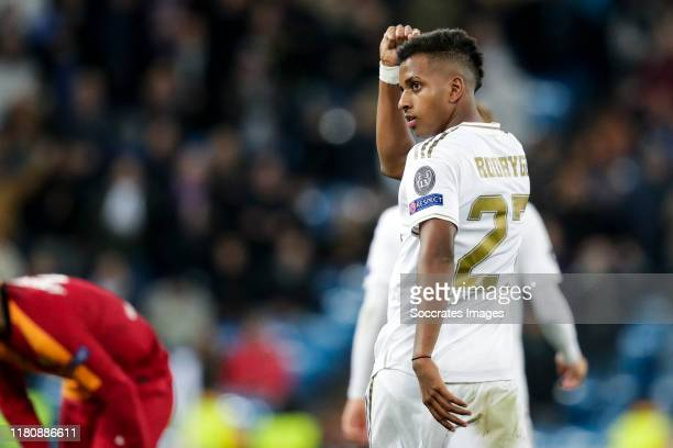 Rodrygo of Real Madrid celebrates goal 60 during the UEFA Champions League match between Real Madrid v Galatasaray at the Santiago Bernabeu on...