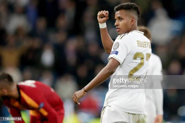 Rodrygo of Real Madrid celebrates goal during the UEFA Champions League match between Real Madrid v Galatasaray at the Santiago Bernabeu on November...