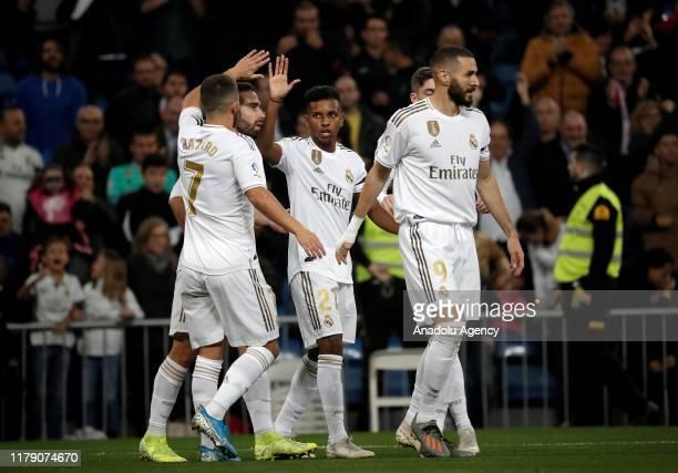 Rodrygo of Real Madrid celebrates his goal during the La Liga match between Real Madrid and Leganes at Santiago Bernabeu Stadium on October 30 2019