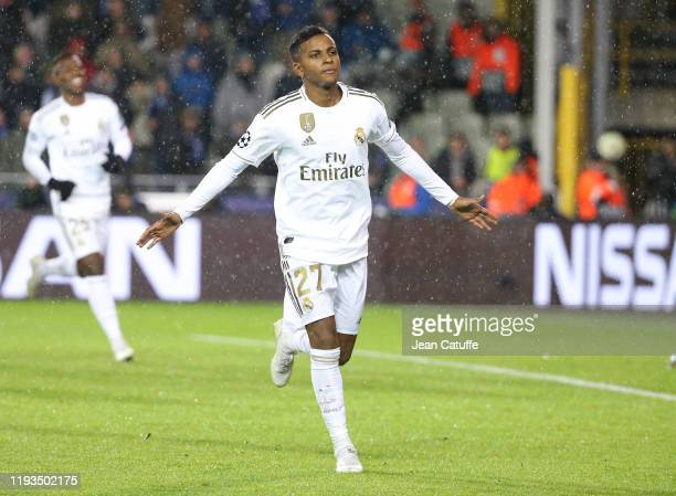 Rodrygo of Real Madrid celebrates his goal during the UEFA Champions League group A match between Club Brugge KV and Real Madrid at Jan Breydel...