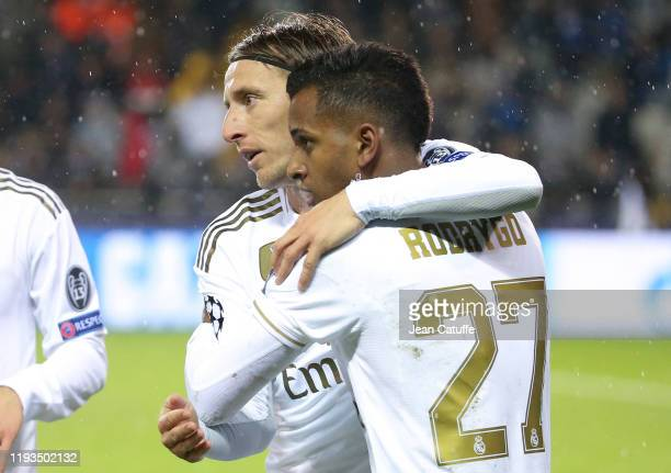 Rodrygo of Real Madrid celebrates his goal with Luka Modric during the UEFA Champions League group A match between Club Brugge KV and Real Madrid at...