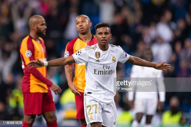 Rodrygo of Real Madrid celebrates his team's sixth goal during the UEFA Champions League group A match between Real Madrid and Galatasaray at...