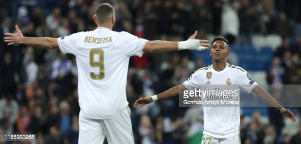 Rodrygo of Real Madrid celebrates scoring his sides 6th goal to make it a hat rick for him during the UEFA Champions League group A match between...