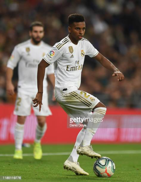 Rodrygo of Real Madrid CF controls the ball during the Liga match between Real Madrid CF and Real Betis Balompie at Estadio Santiago Bernabeu on...