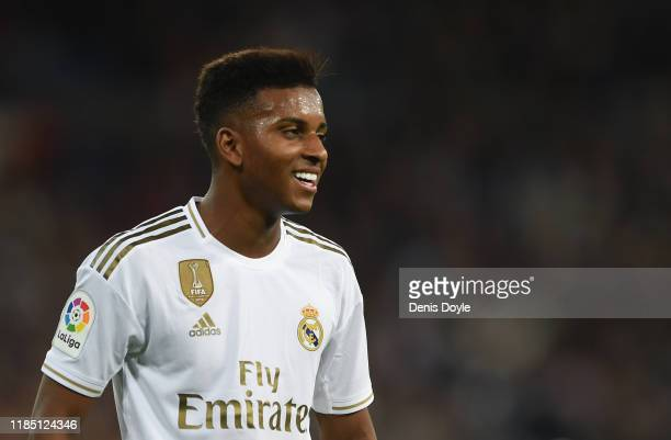 Rodrygo of Real Madrid CF looks on during the Liga match between Real Madrid CF and Real Betis Balompie at Estadio Santiago Bernabeu on November 02...