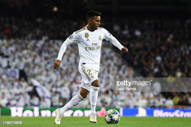 Rodrygo of Real Madrid CF runs with the ball during the UEFA Champions League group A match between Real Madrid and Paris SaintGermain at Bernabeu on...