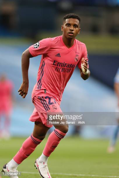 Rodrygo of Real Madrid during the UEFA Champions League round of 16 second leg match between Manchester City and Real Madrid at Etihad Stadium on...