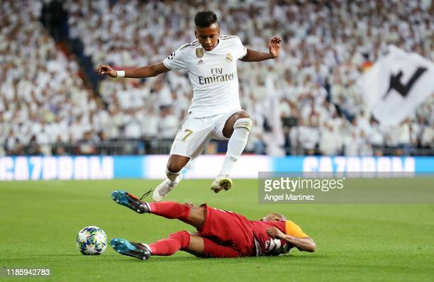 Rodrygo of Real Madrid is tackled by Mariano Ferreira of Galatasaray during the UEFA Champions League group A match between Real Madrid and...